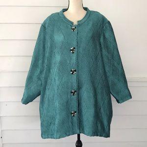 Ulla Popken 28/30 Dressy Jacket Teal Blue Pretty